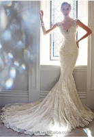 2014 New Designer Elegant White Mermaid Sweetheart Backless Lace Bodice Long Tulle Train Bridal Wedding Dress