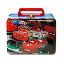 Lunch Box, Cars Metal Tin Case w/ Plastic Handle & Clasp