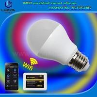 Langma E27 6W RGBW LED bulbs with wifi controller, wifi remote led