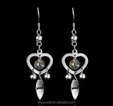 High grade zircon heart leaf earring,925 sterling silver earring hook(SWTPR909)