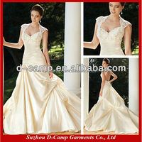 WD-1065 A line Soft pickups skirt queen anne wedding dresses two in one wedding dress with lace bolero jacket