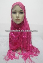 NL137 beautiful muslim long sequins scarf,wedding or party scarf