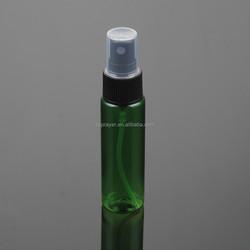 30ml green cylinder Round plastic PET bottle skin care bottle Alu sprayer bottle