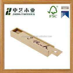 Hot selling new arrive eco friendly handmade decorative wooden pencil box with sliding ruler lid