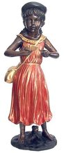 Classic Bronze Sculpture - Girl in Red Dress with Shell BS074A