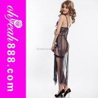 Black color long see throught backless wholesale sexy ladies sexy transparent nightwear
