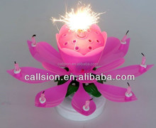 rotating flower paraffin wax birthday candle