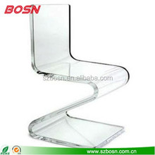 Stylish furniture transparent acrylic chairs hot bending Z acrylic dining chair