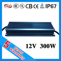 5 years warranty 24V 12V 300W waterproof electronic LED power supply for LED strip
