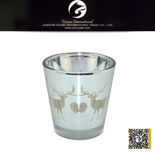 reindeer silver plated glass candle holder