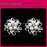 Personalized metal pearl rhinestone shoe flower clips ,pearl and rhinestone shoe clips RLD006RSC