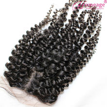 "homeage silk top 4 by 4"" lace size mongolian kinky curly hair middle part closure"