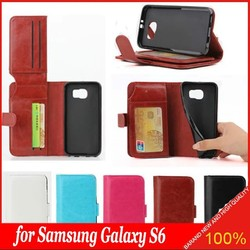 2015 New Tpu Soft Crazy Horse Leather Wallet Flip Stand Case for Samsung Galaxy S6