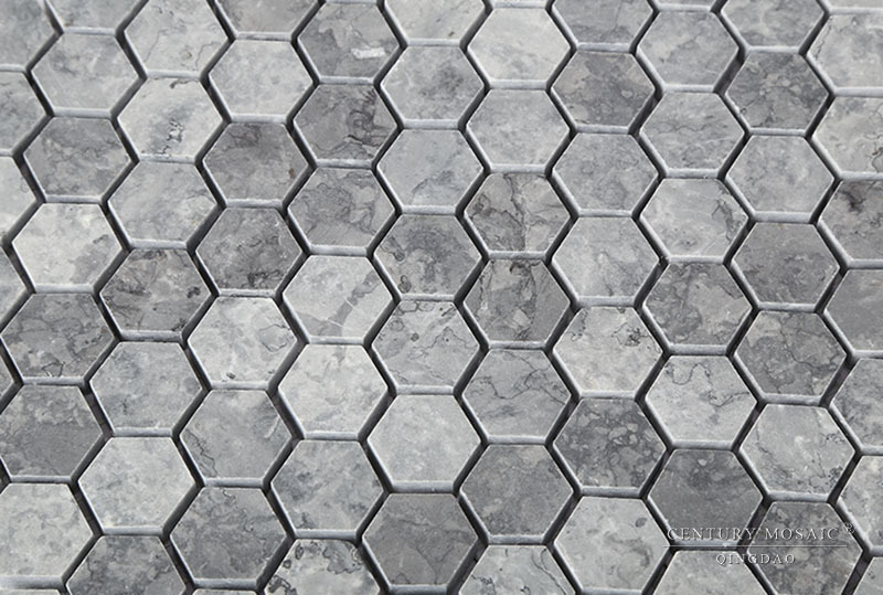 New Home Marble Design 1 Inch Grey Hexagon Mosaic Tiles