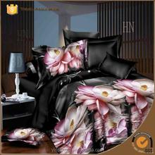 Hot sale 100% polyester 3d bed sheet new design elegant flower printing colorful bed sheet/3d bed cover set