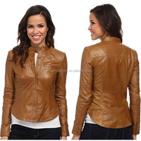 2015 new winter fashion lady cheap faux leather jacket