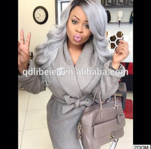 Factory wholesale 100% unprocessed remy brazilian human hair grey hair lace wig