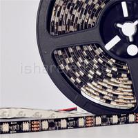 48LEDS/M 1IC Drive 2Chips, 12V WS2811 5050 SMD Digital RGB Dream Color Pixel LED Strip 10mm Black/White PCB