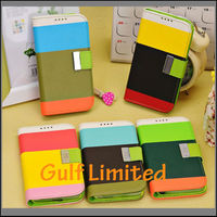 Tri-color leather side open phone case for Samsung S4