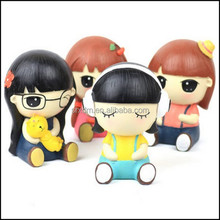 OEM cute expression series coin bank, custom cute girls shape coin bank, OEM cute girls shape coin bank manufacturer