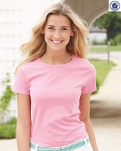 Wholesale Ladies Pink Basic Tagless Blank T Shirts