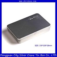 Caixa de lata de metal retangular
