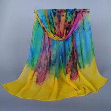 2015 Wholesale New Design Painting Impress women Flower Silk Scarf Popular Scarves Shawl 160*50 Pashimina