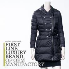 2015 Brand Design Russian Women Hooded Long Outwear Goose Down Coat with Belt