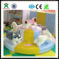 New design wholesale children indoor soft carousel horse for sale mini indoor merry-go-round rides children games QX-104K