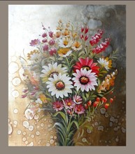 modern hand painted home art decor Artwork litte pink and blue flowers oil painting on canvas