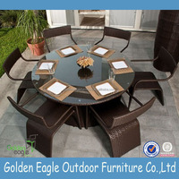 High-grade SGS tested rattan dining table and chairs garden wicker table and chairs