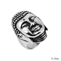 SRR0011 Hot Selling 2015 Buddha Ring Head of Buddha Biker Ring Customized Stainless Steel Ring