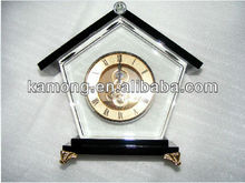 House shaped crystal clock for table decoration