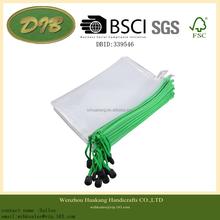 A5 Clear Plastic Nylon Chain Zipper Closure Pens Gridding File Bag 12 Pcs