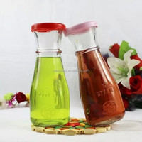 High quality 350ml/ 500ml lead-free glass juice bottle with plastic cap