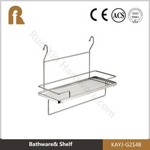 Chrome plated bathroom hanging shelf with towel haning function