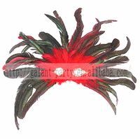 Turkey Feather Headgear Masquerade Carnival Party Feather Headdress Headpiece with Eye Mask