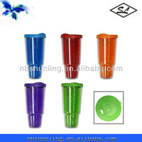 colorful 24oz plastic insulated double wall coffee cup