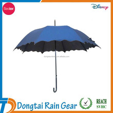 new design high quality promotional polyester pongee metal frame gift automatic stick umbrella for ladies with flower edge