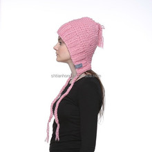 high quality winter knitted winter hat with braids