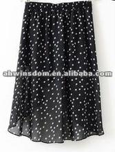 2012 fashion waist elasticity five-pointed star front short back long chiffon en dress