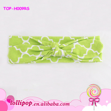 2015 New style infant sport headband lime quatrefoil soft cotton fashion girls turban headband