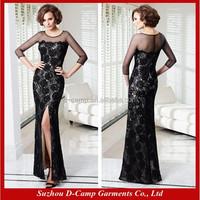 ME-007 Sheer top high slit sex mother of the bride dress long sleeve black lace dresses for mother of brides