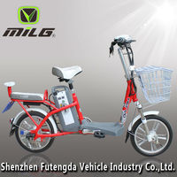 light weight 16inch wheel protable 48v 10ah lithium battery electric bicycle with pedals assist and basket rear backrest