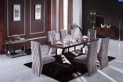chinese wooden top dining table with stainless steel legs LV-A810