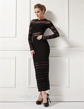 nombre del diseñador vestido de cóctel negro de malla de manga larga vestido bodycon