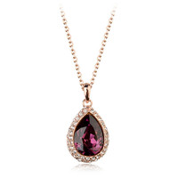 Hot sell! Luxury ruby stone pendant, angles tear glowing pendant necklace