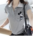 Wholesale china girl half open placket polo shirt with cartoon printing