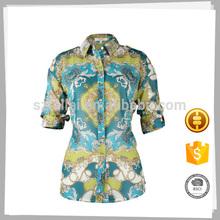 Hot selling 2015 Lady fashion elegant Short Sleeve casual blouse for lady
