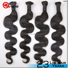 2015 China Supplier Wholesale Double Drawn Unprocessed Remy bulk hair for wig making